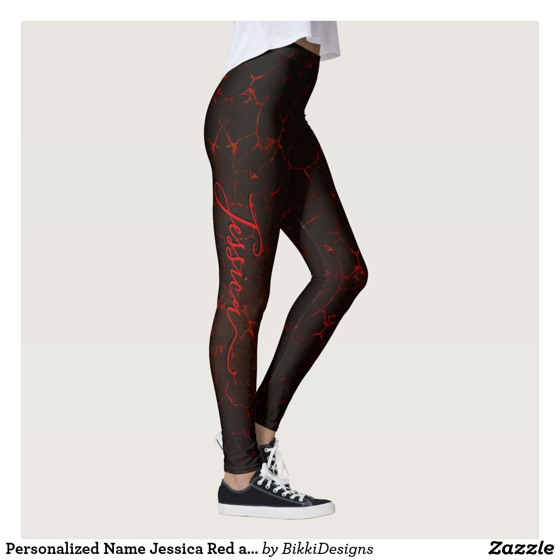 0a733ba26d72b Personalized Name Jessica Red and Black Leggings | Zazzle.com in ...