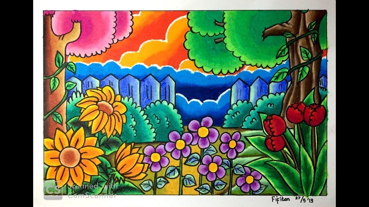 Cara Menggambar Pemandangan Kebun Bunga Dg Gradasi Warna
