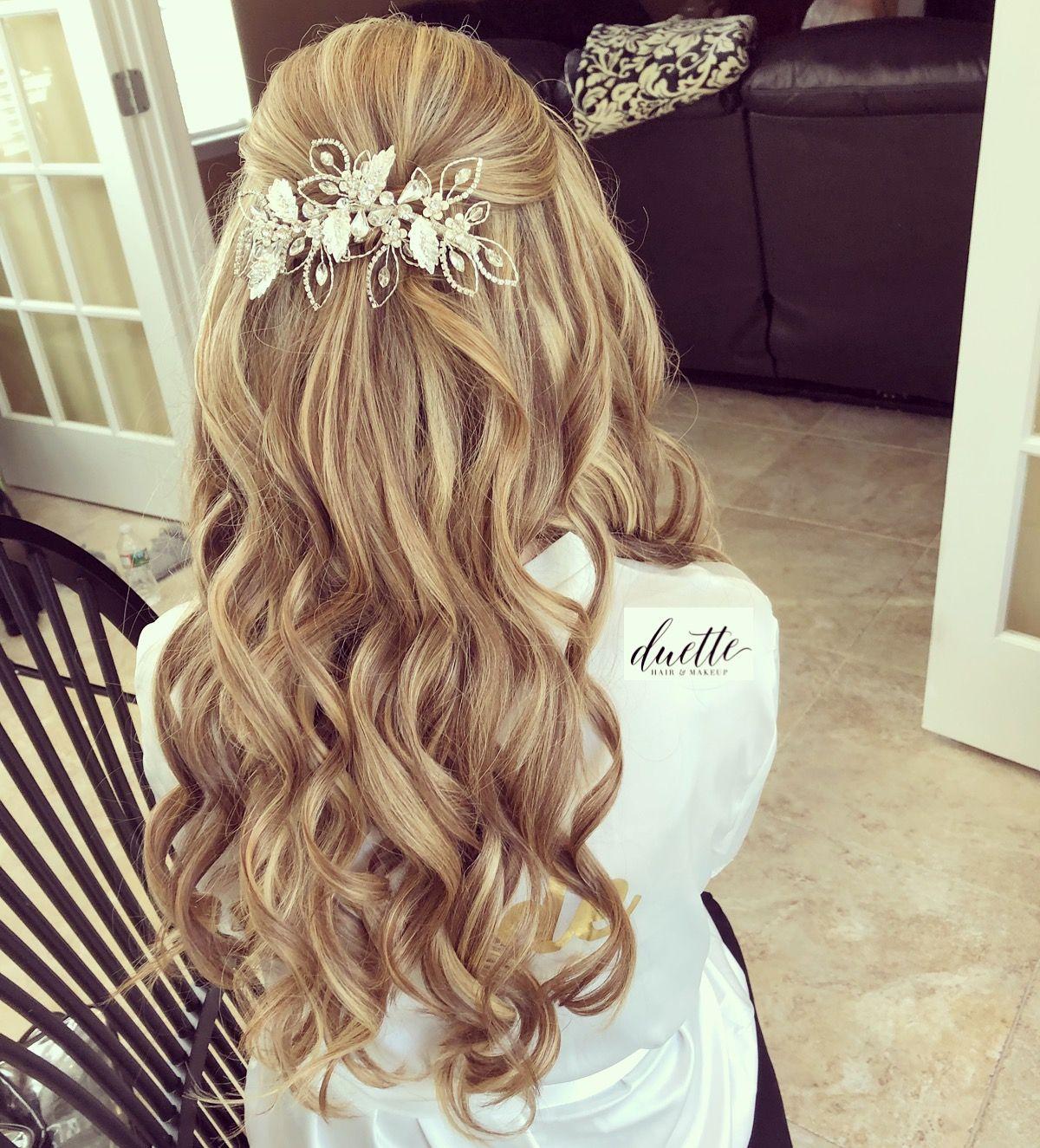 half up half down bridal hair blonde . . . . #bride