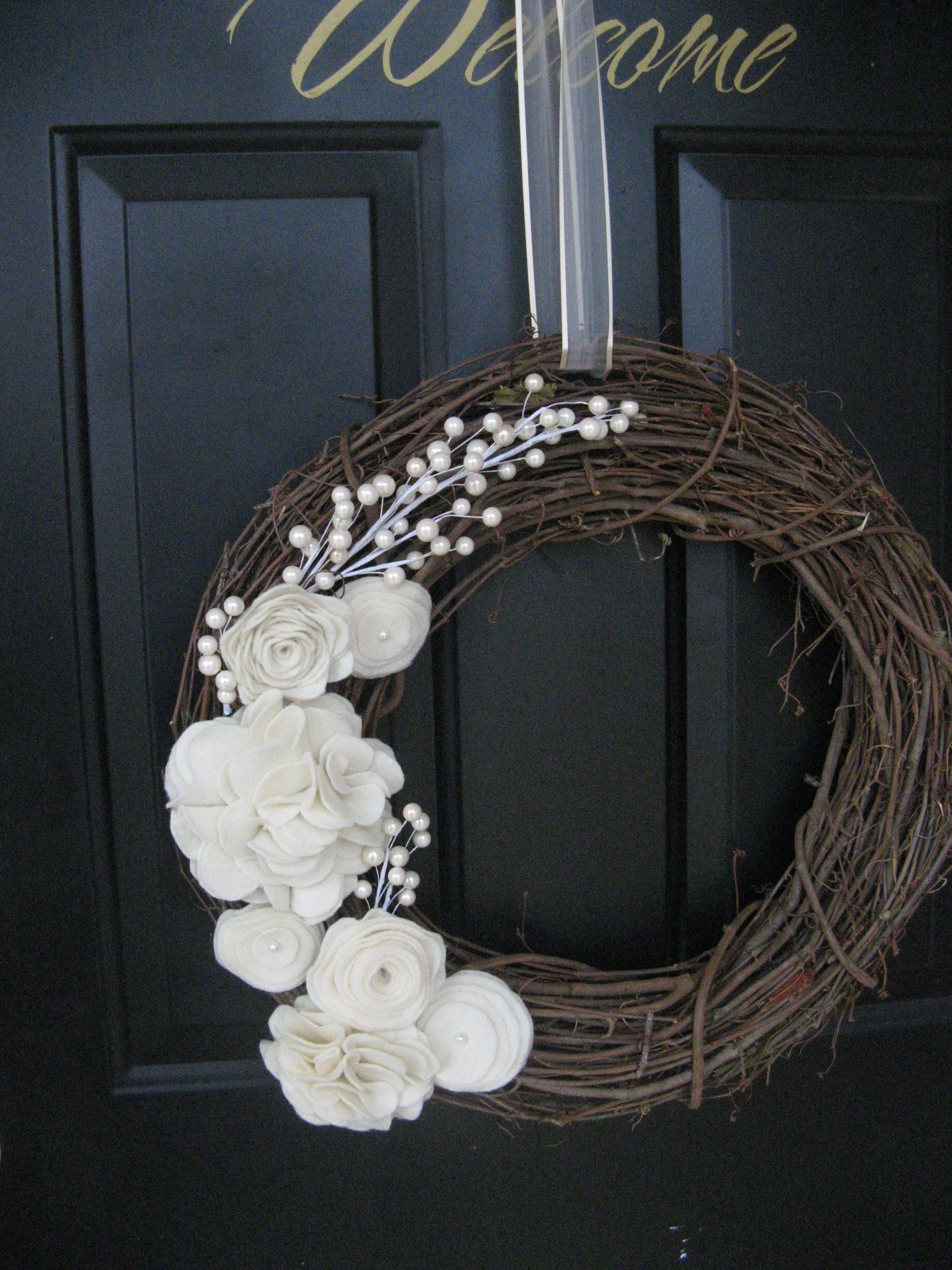 Felt Flower Grapevine Wreath