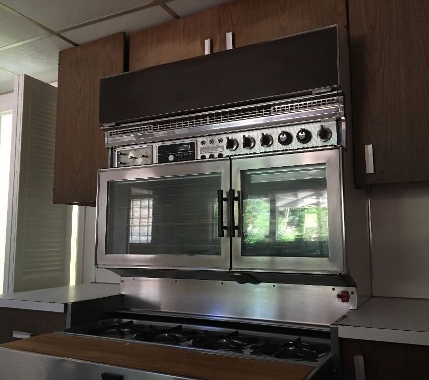 Vintage Midcentury Tan 400 Gas Stove Built In Wall Double Oven Robertshaw Ebay