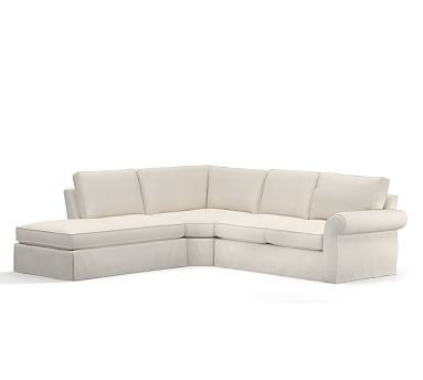 Pearce Roll Arm Slipcovered 3 Piece Bumper Wedge Sectional