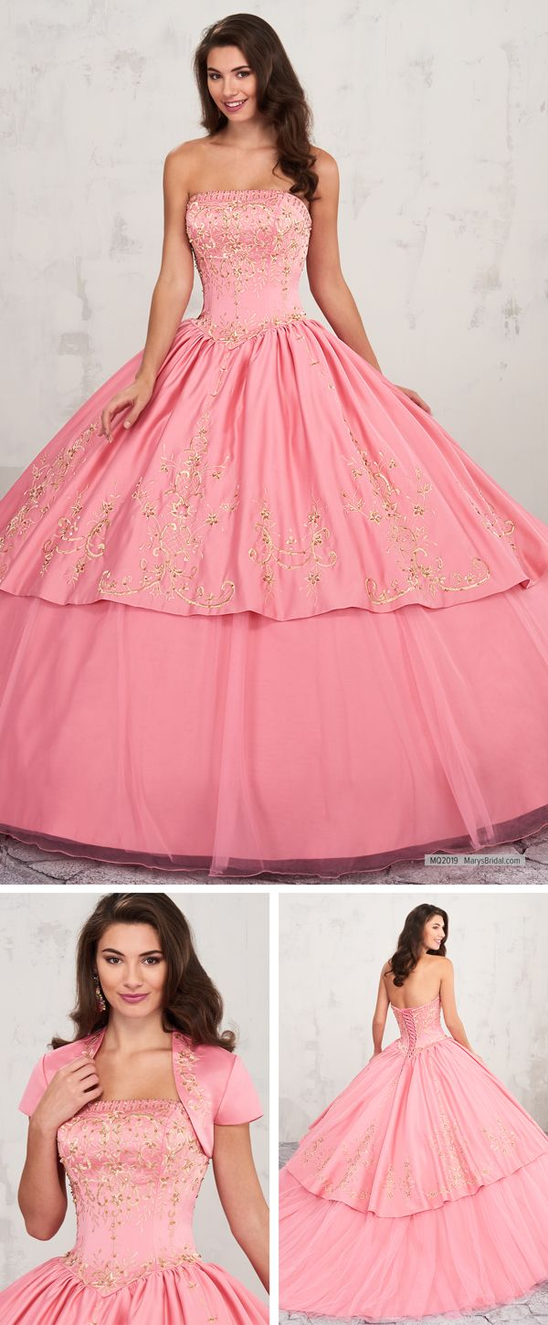 MQ2019 Strapless quinceanera ball gown features straight across neck ...