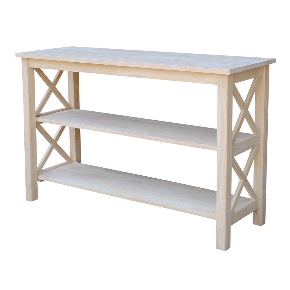International Concepts Hampton Unfinished Console Table Gray Console Table White Console Table Real Wood Furniture