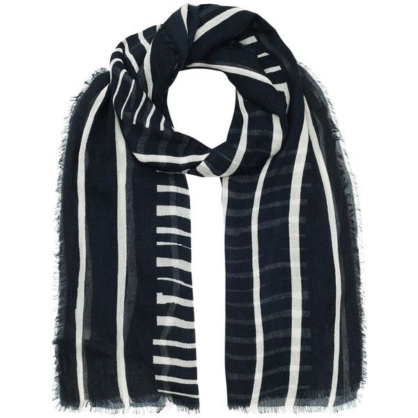 Jigsaw Engineered Stripe Scarf , Navy ($70) ❤ liked on Polyvore featuring accessories, scarves, navy, navy blue shawl, navy blue scarves, navy scarves, navy shawl and striped scarves