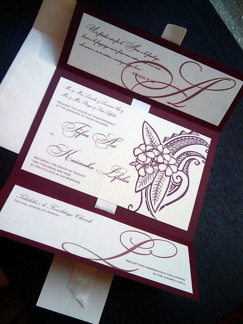BEAUTIFUL POLYNESIAN WEDDING INVITATIONS MADE BY GEKD BOUTIQUE IN SAN FRANCISCO CA