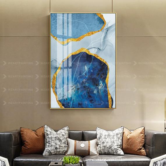Navy Blue Gold Stone Abstract Acrylic Print Painting On Canvas Blue Large Wall Art Cuadros Grandes Abstrac Large Wall Art Abstract Acrylic Custom Canvas Prints