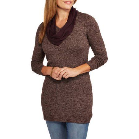 Faded Glory Women's Tunic Sweater with Scarf, Size: Small, Brown
