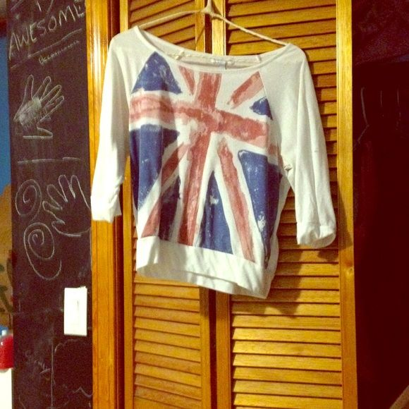English flag shirt A size small British flag shirt from delias, got it in my British faze Delia's Tops