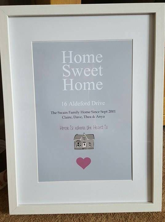 Home Sweet Home Personalised Family Home Prints New Home Housewarming Gift Home Address Frame