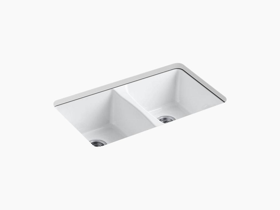 Kohler K 5873 5u Deerfield 33 Cast Iron Kitchen Sink Undermount