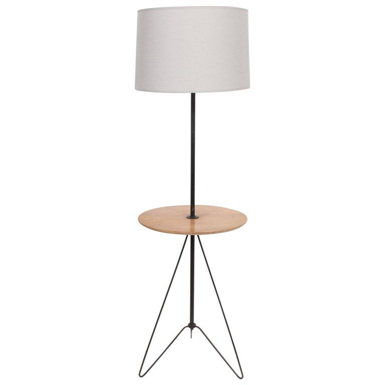 Tony Paul Style Maple And Black Wire Hairpin Side Table Floor