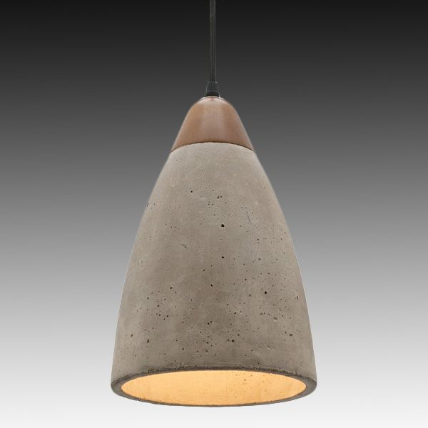 thick layered concrete pendant light rough textured heavy looking with  copper finish on upper part of lamp