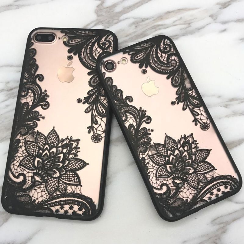 a90c4fd3f5a Fashion Sexy Lace Floral Paisley Flower Mandala Henna Clear Case For iphone  7 7plus  6