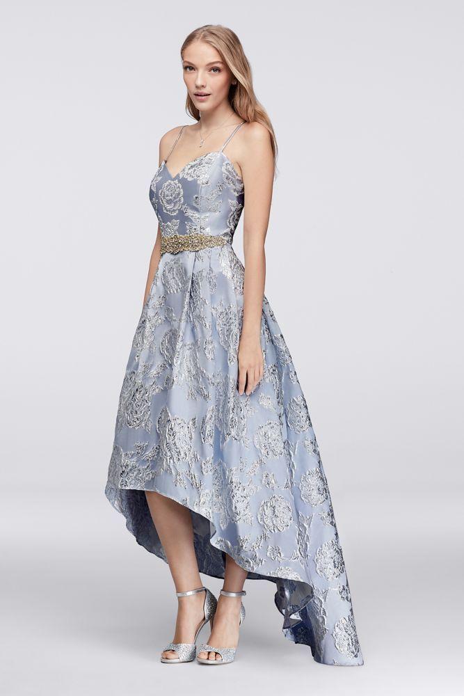 d65cbc453 High-Low Brocade Ball Gown with Beaded Waist - Light Blue