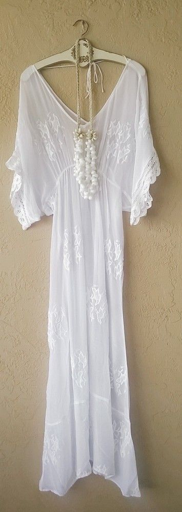 "SIXTY DAYS BEACH BRIDE WHITE ""MAGIC"" MAXI DRESS WITH BATTENBURG LACE SLEEVES"
