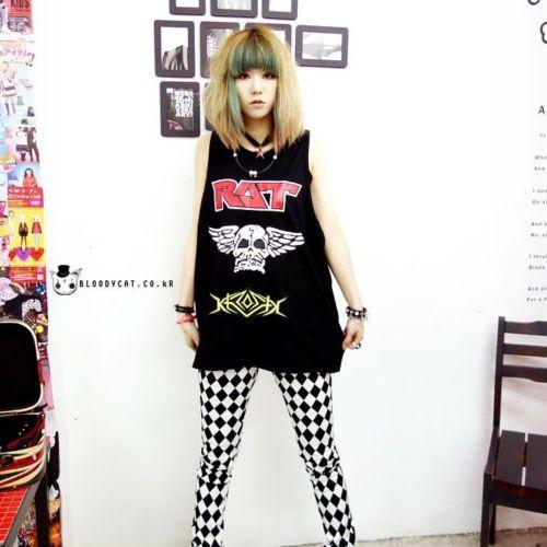 Bloodycat Black Rat Skull Typo Print Emo Punk Sleeveless Vest Sz Women XL Men M