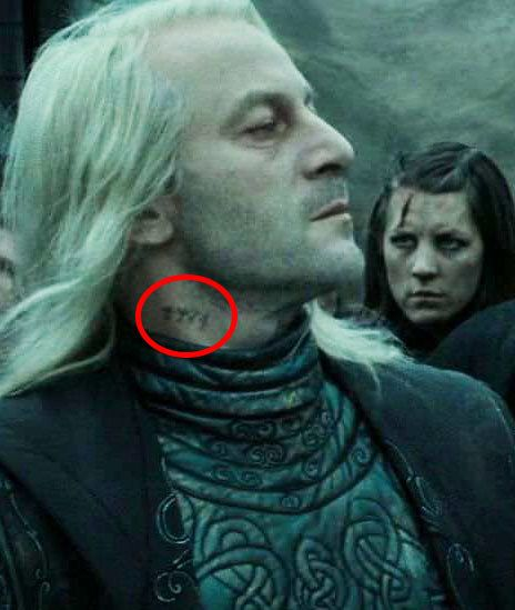 """In The Deathly Hallows Part you can spy Lucius Malfoy's Azkaban prisoner number tattooed on his neck. 19 Details From The """"Harry Potter"""" Movies That'll Make You Say, """"How Did I Not Notice That?"""