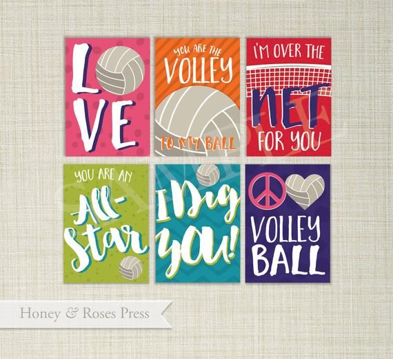 Editable Volleyball Valentine's Day Cards . Sports Valentines . Kids Valentines Cards. Printable Valentines . Instant Download