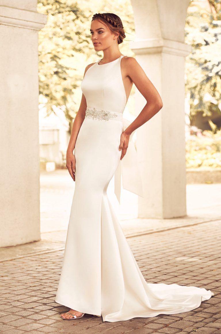 Beaded racerback wedding dress style beautiful back