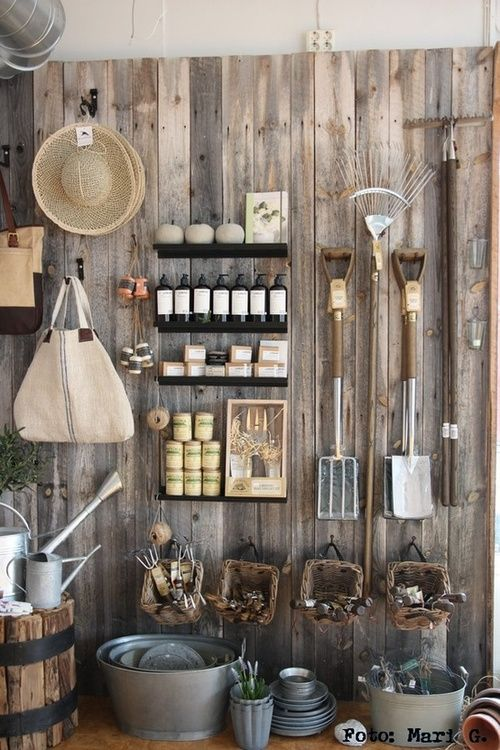 Gardening Supplies Display in garden shop Storage shed ideas