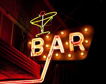 Neon Bar Sign Tail Gl Home Art Retro Decor Masculine Red And Black Fine Photography