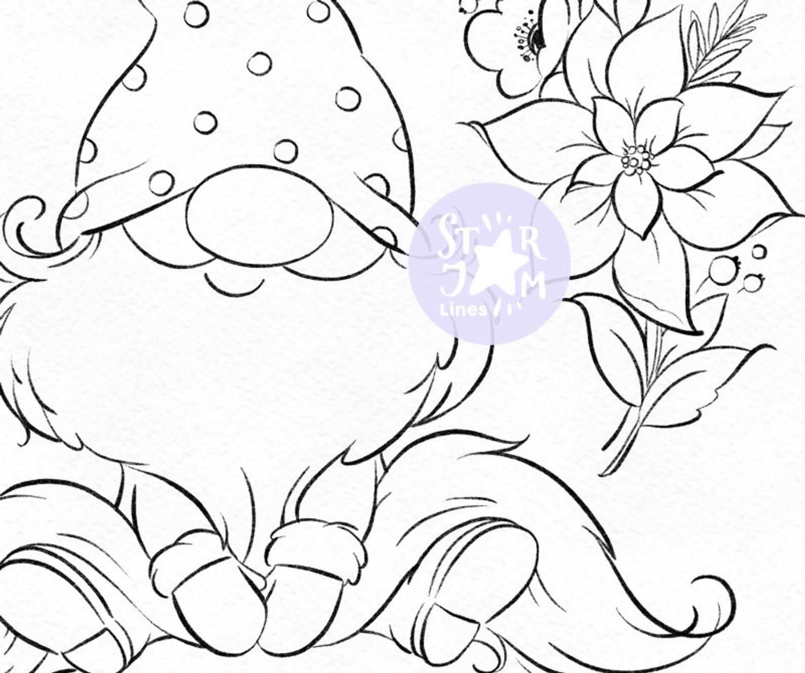 Christmas Gnome Digi Stamp Nordic Coloring Page Digital Art Xmas Christmas Tree Little Dwarf Holiday Cute Winter Snow Wreath In 2020 Digi Stamp Abstract Coloring Pages Coloring Pages