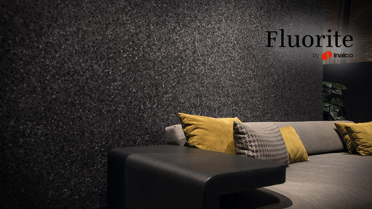 Fluorite Series, inspired by classic terrazzo floorings, expands its range with a new and elegant colour Negro.