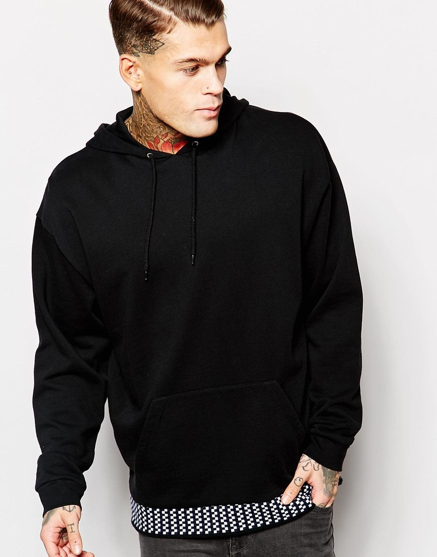 "Hoodie by ASOS Loop-back sweat Drawstring hood Front pouch pocket Ribbed cuffs Jacquard hem Oversized fit - falls generously over the body Machine wash 100% Cotton Our model wears a size Medium and is 185.5cm/6'1"" tall"