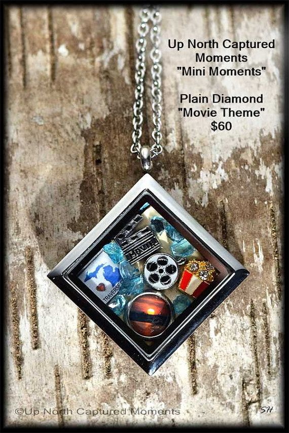 Michigan  Inspired Floating Charm Locket Necklace - Small town movie theaters $60