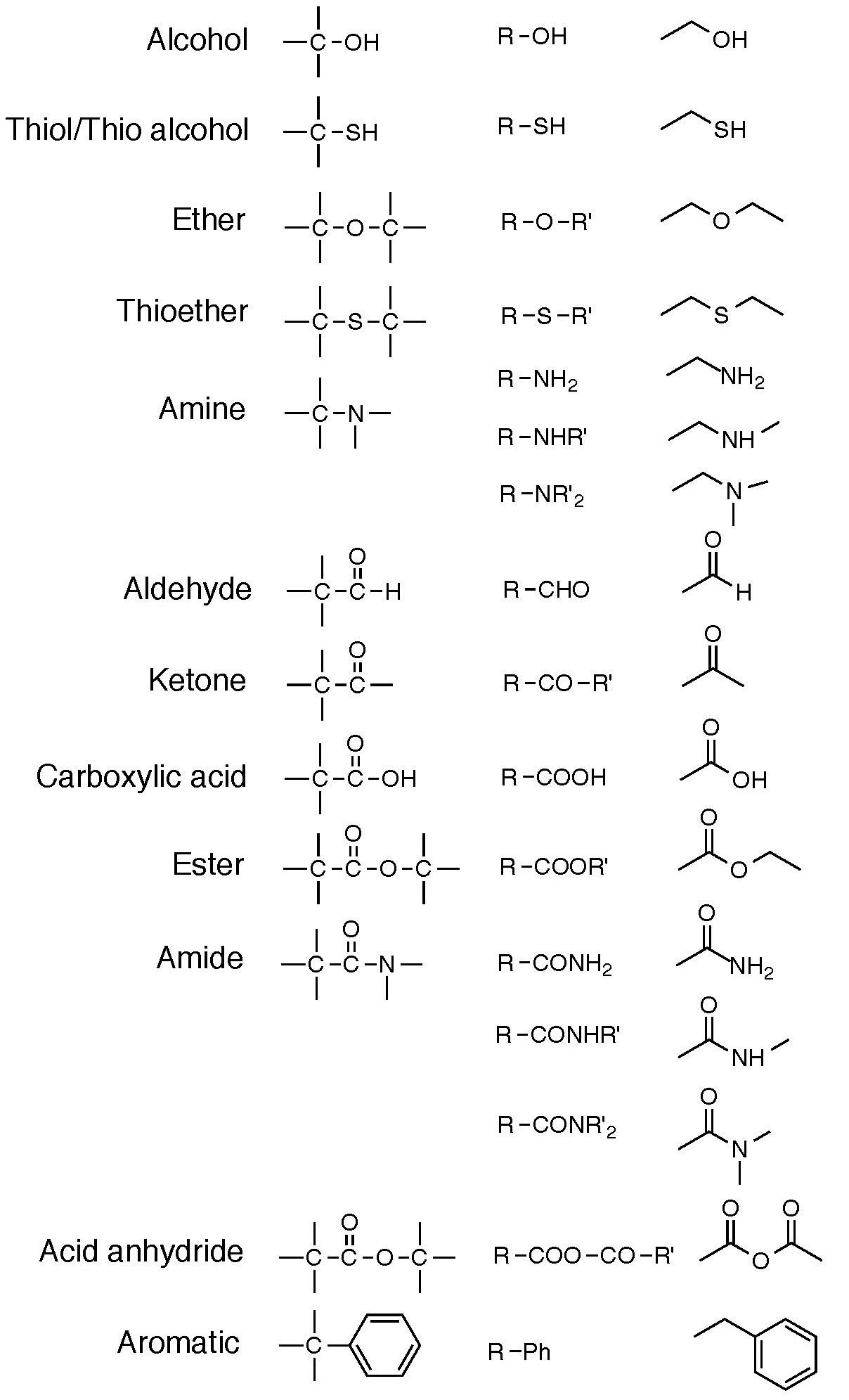 A Table Showing The Functional Groups For Alcohol Thiol Ether Thioether Amine Aldehyde