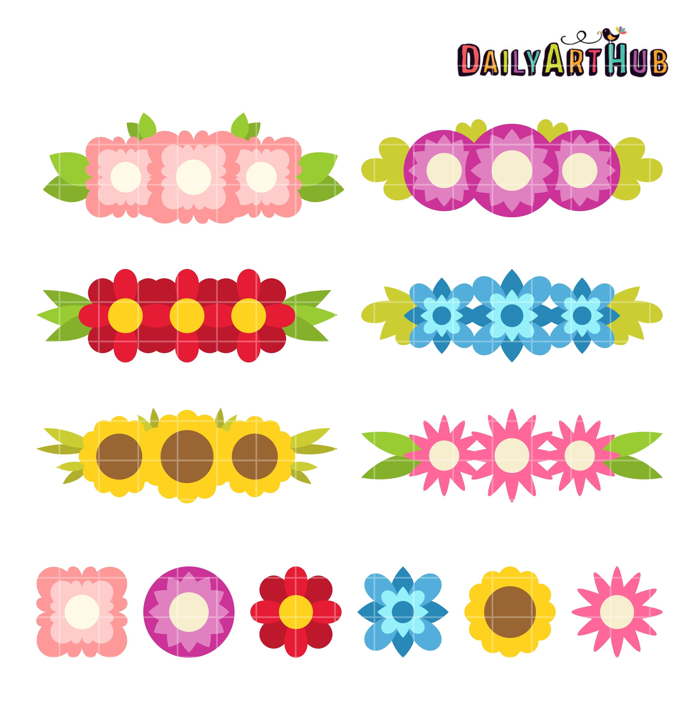 Free Simple Flower Crowns Clip Art Set Daily Free Art Sets