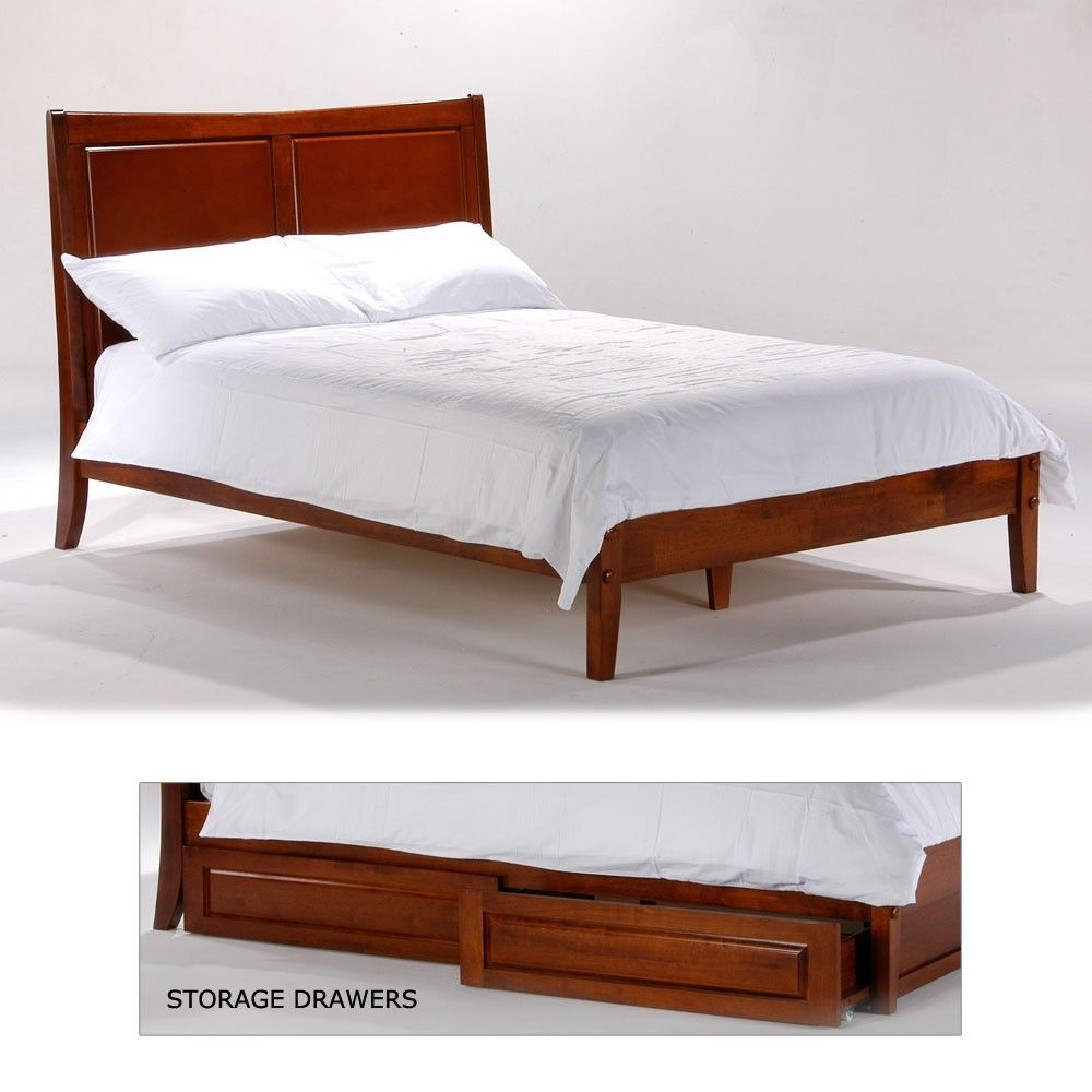 Saffron Wood Platform Bed In Cherry By Night Day Furniture