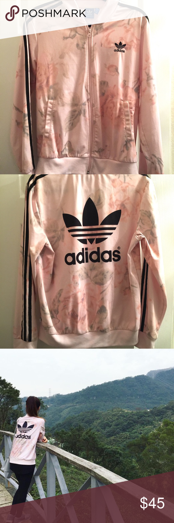 Pink floral adidas track jacket Pink floral adidas track jacket! Sold out and only worn a few times. Got a size medium since they didn't have a small but fits just fine! Adidas Jackets & Coats