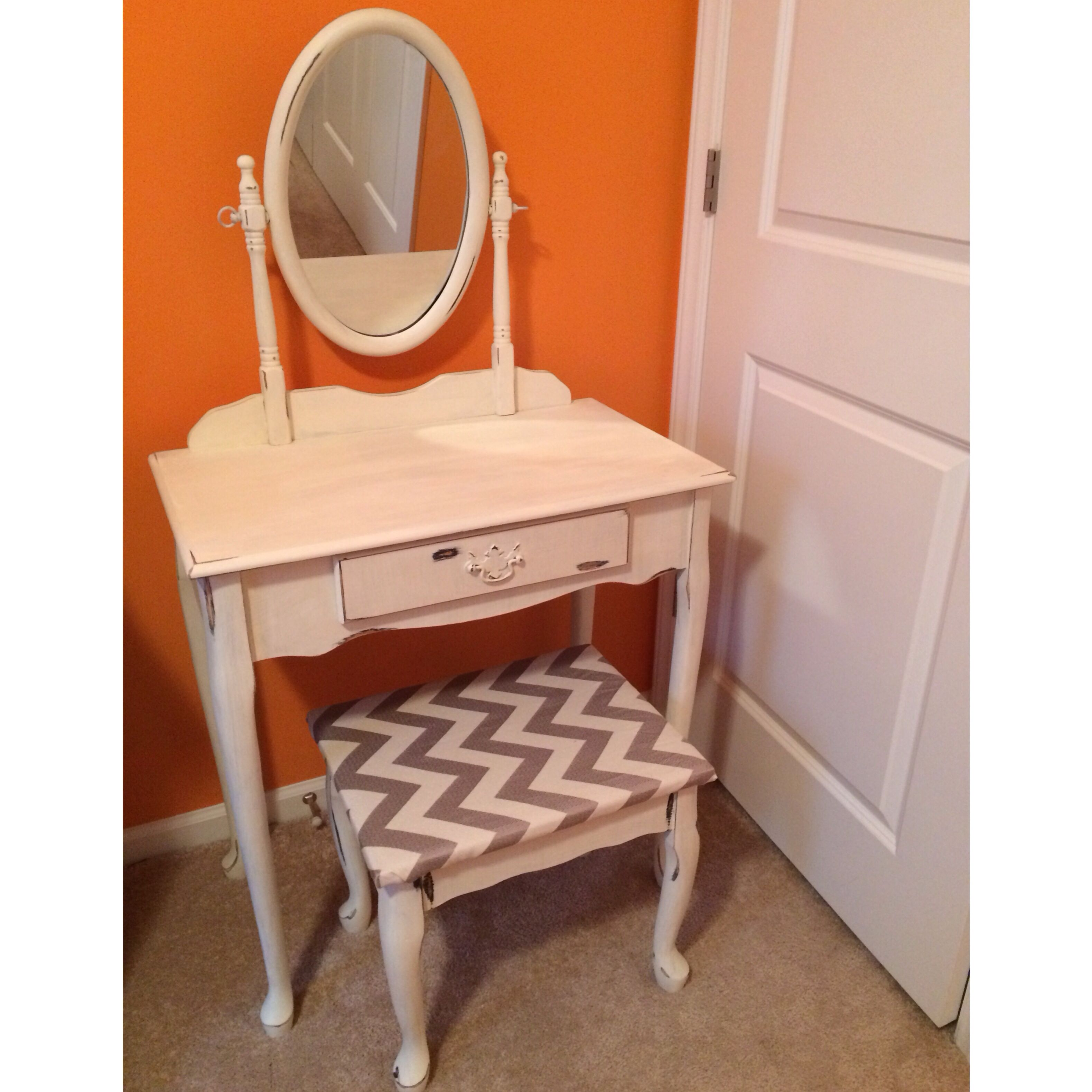 Custom painted vanity used annie sloan old white and reupholstered