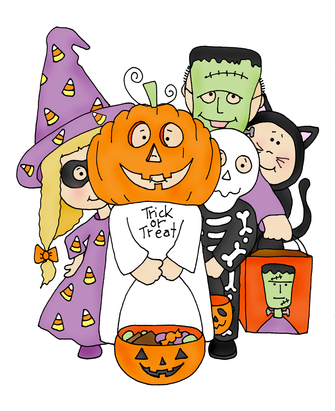 Trick or Treaters (Free Dearie Dolls Digi Stamps) | **Happy