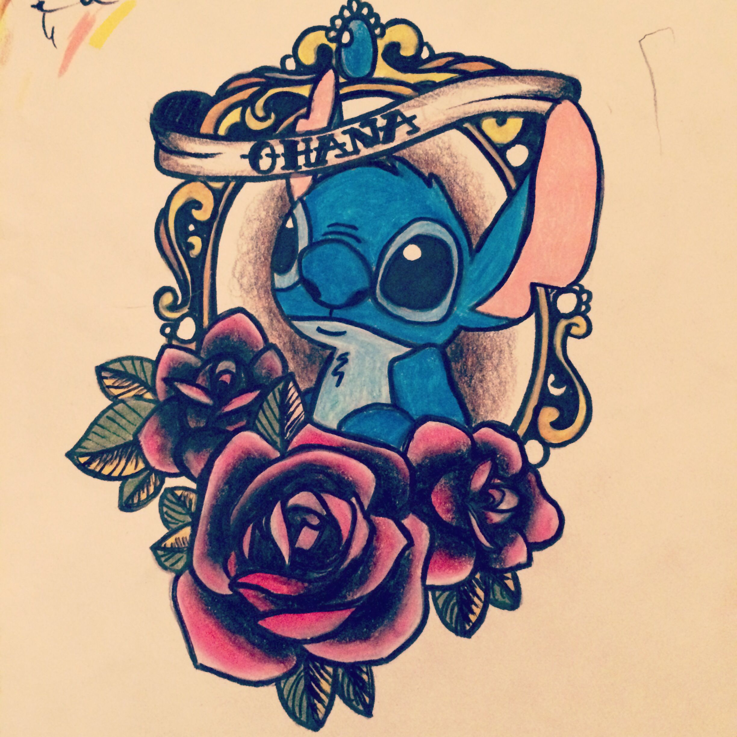 drawn by me next on the agenda lilo and stitch tattoo ohana means family tattoos. Black Bedroom Furniture Sets. Home Design Ideas