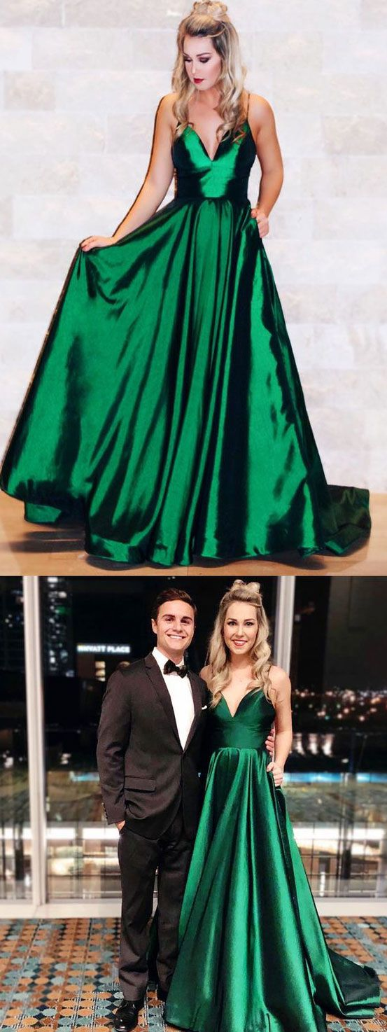 Simple spaghetti straps green long prom dresses evening gowns