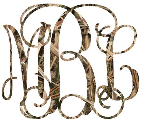 Initials Custom Vine Monogram Camo Camouflage Decal Car Window - Camo custom vinyl decals for trucks