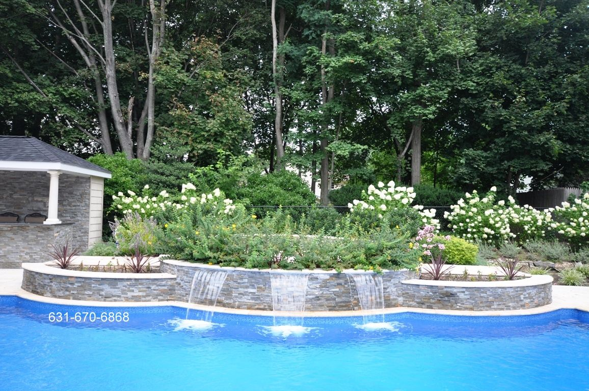 Retaining Wall In Ground Pool Fire Bowl Waterfall Google