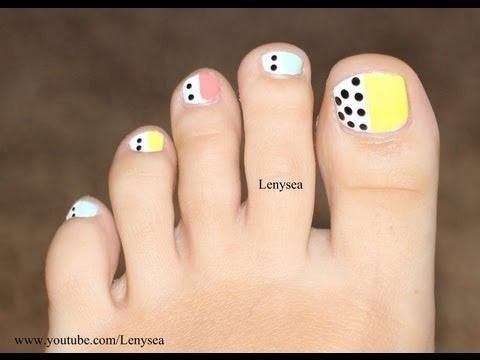 Easy Toe Nail Design For Beginners Pastels And Polka Dots Nails