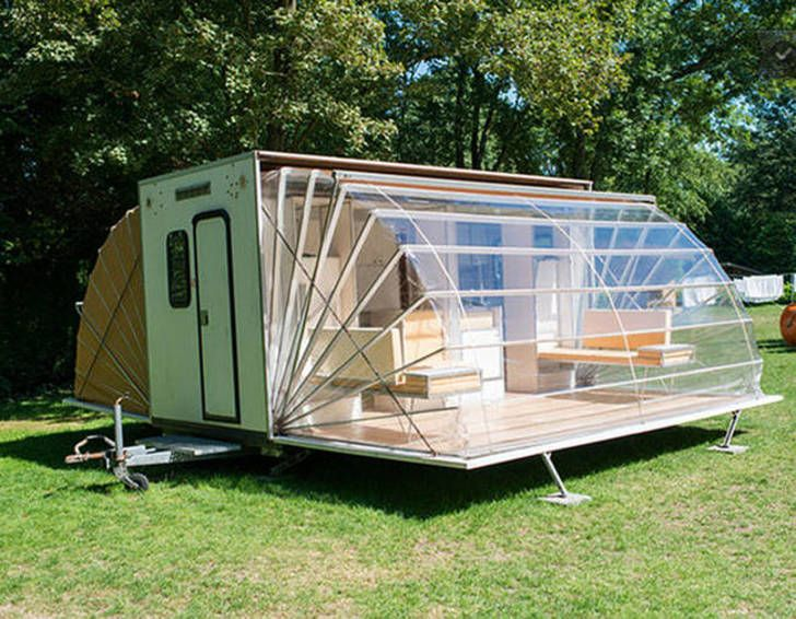 Incredible De Markies Trailer Folds Out To Triple Its Size With Adjustable Awnings Luxury Camping Camping Trailer Mobile Living