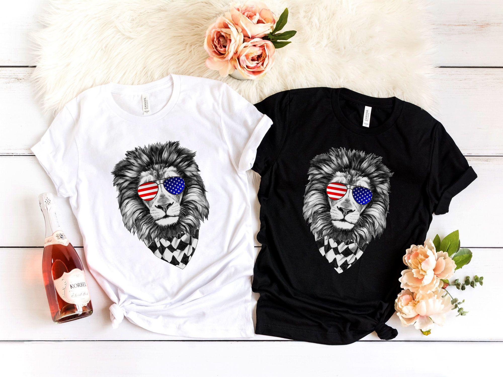 Lion 4th of July Shirt USA July 4th America T Shirt Tank