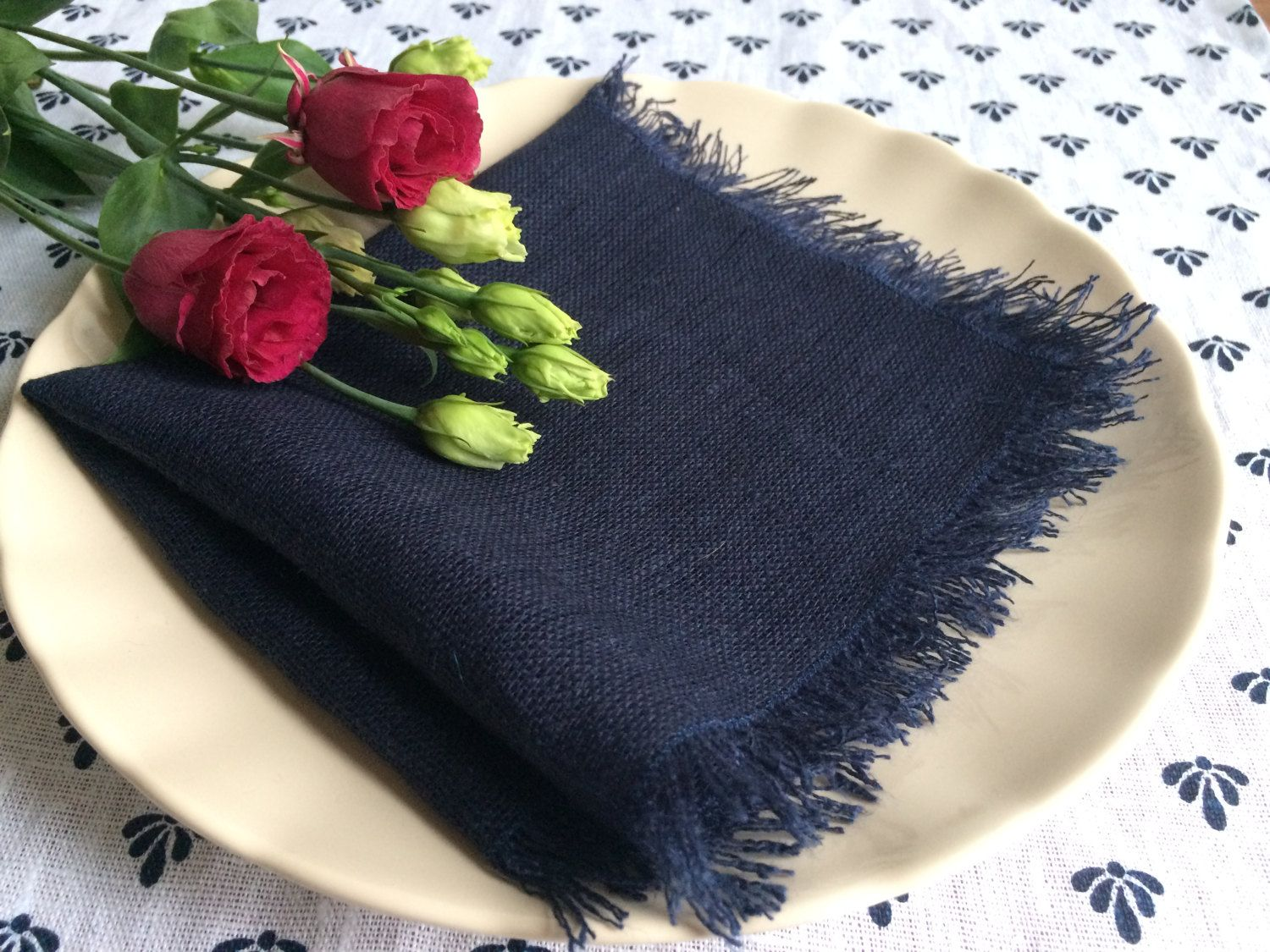 Dark Blue Linen Napkins Wedding Navy Cloth Natural With Fringes