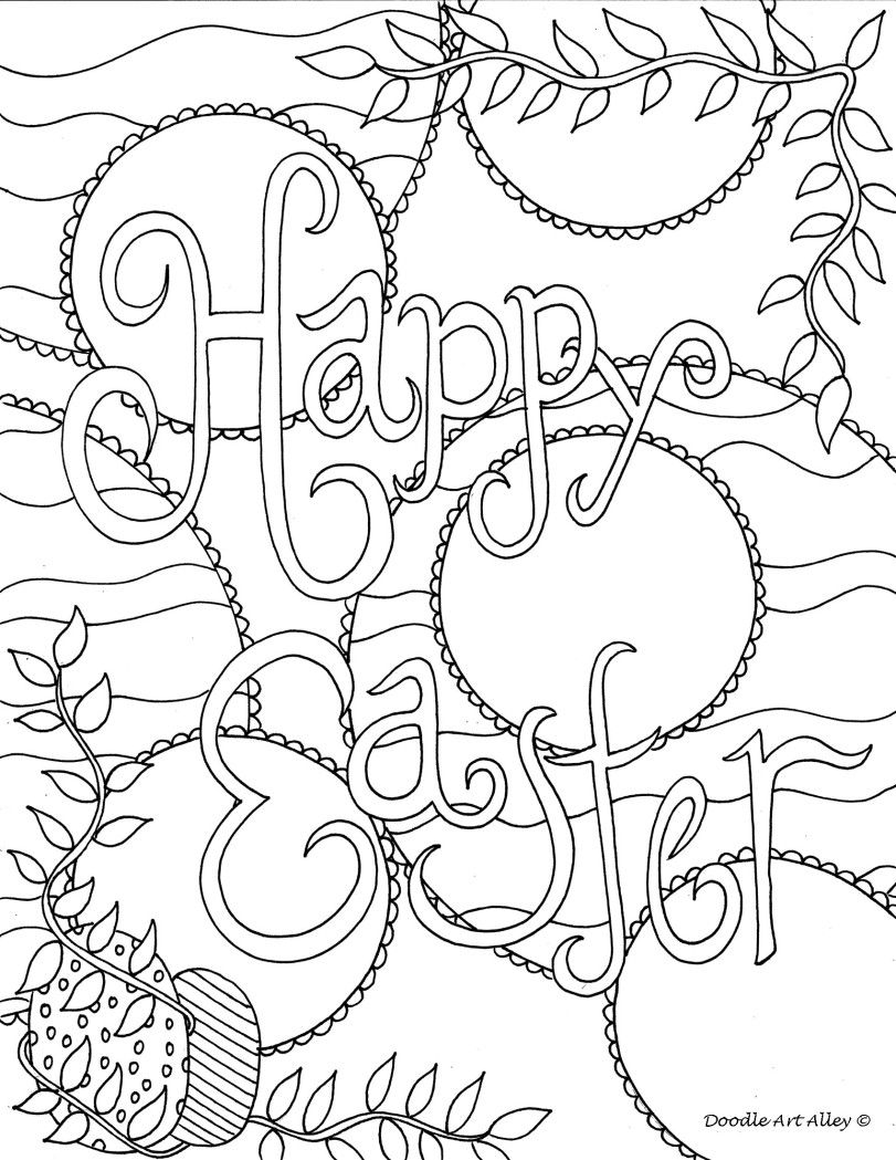 Happy easter doodle coloring page Easter coloring