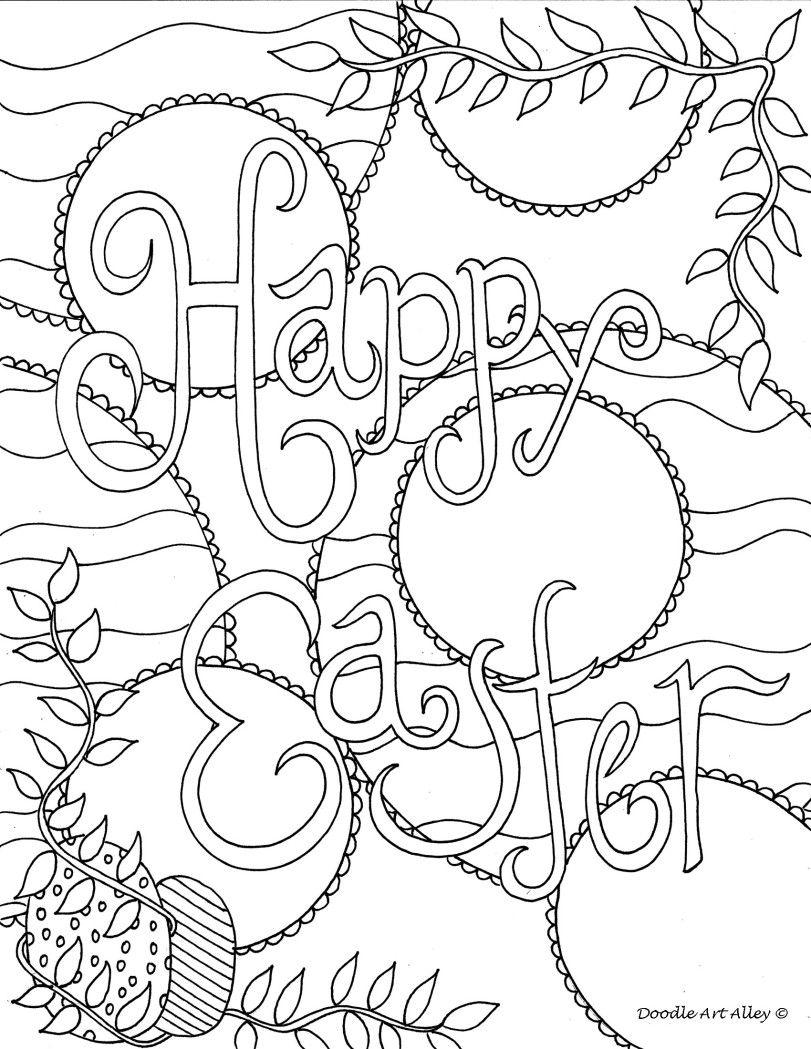 Happy easter- doodle- coloring page | dibujos paracolorear ...