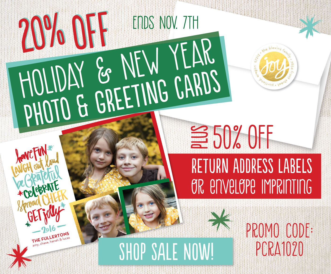 20 Off Holiday Photo And Greeting Cards Plus 50 Off Return Address