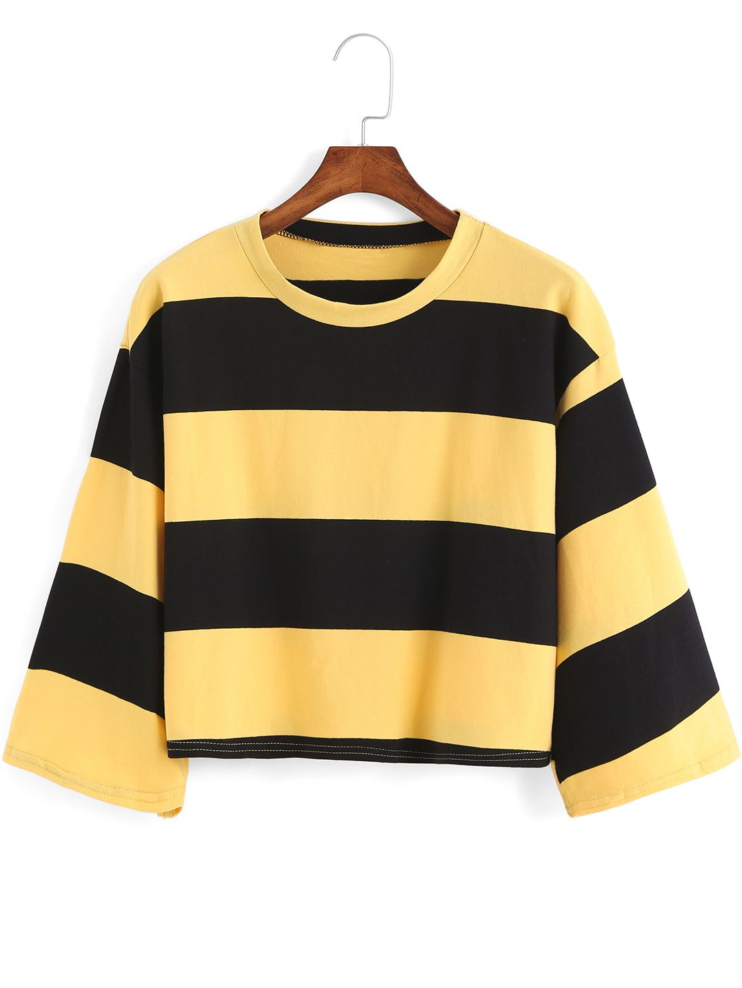 Yellow Black Round Neck Striped Crop Sweater | Cats, Yellow and ...