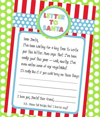 Freebie Letter To Santa Printable  Christmas Crafts And Diy