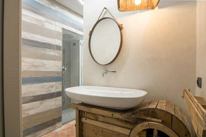 ideas para decoracion rustica, baño luminoso y pequeño en estilo